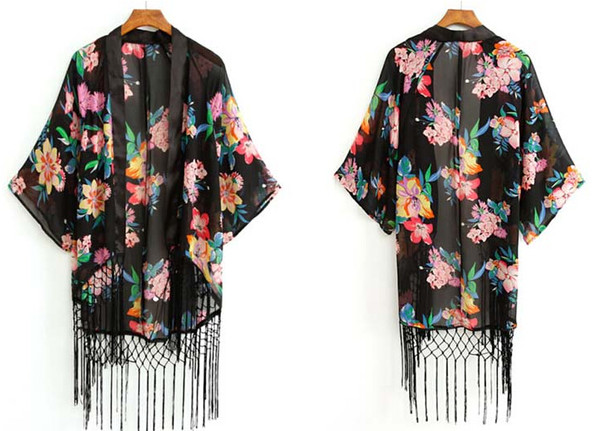cardigan kimino floral floral t shirt tassel top shirt blouse fashion