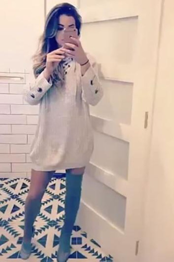 46663915634 sweater sweater dress jojo fletcher snapchat over the knee boots shoes.