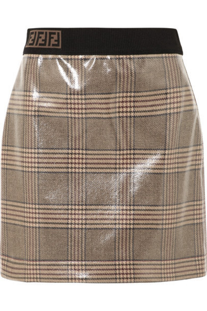 Fendi - Prince Of Wales Checked Glossed-wool Mini Skirt - Gray