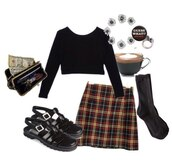sweater,jumper,look,outfit,skirt,checkered