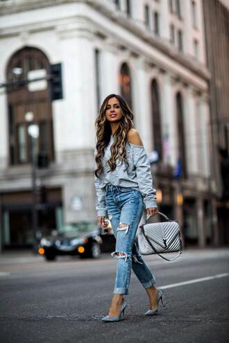 maria vizuete mia mia mine blogger sweater jeans shoes bag sunglasses ysl bag ripped jeans blue bag spring outfits