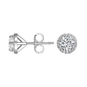 18k white gold diamond halo earrings (over 1/2 ct. tw.)
