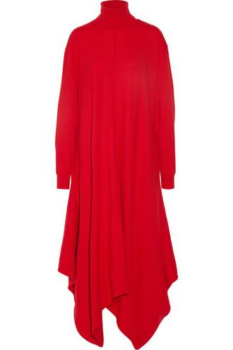 dress turtleneck dress oversized wool red