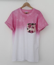 skirt,shirt,t-shirt,ombre,floral,pink,love,white,tie dye,flowers,style,patchwork,blouse,pocket t-shirt
