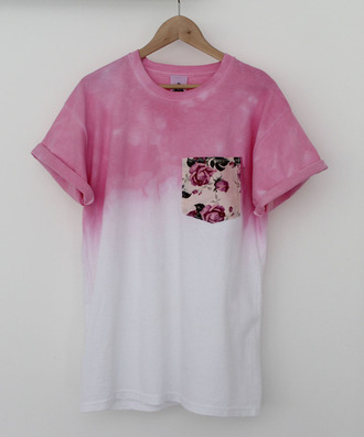 skirt shirt t-shirt ombre floral pink love white tie dye flowers style patchwork blouse pocket t-shirt