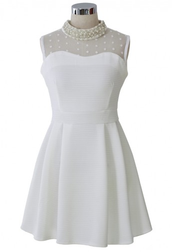 Sleeveless Pearl Collar Mesh Twill Dress in White - Retro, Indie and Unique Fashion