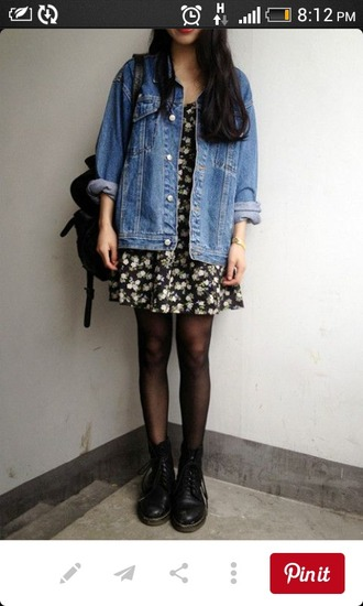 jacket soft grunge denim jacket floral dress