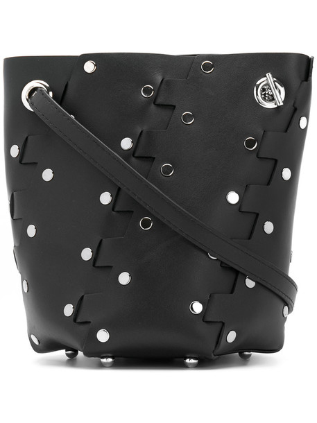 mini studded women bag bucket bag leather black