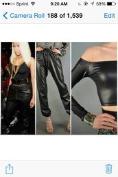 pants,bottoms,clothes,cool,trendy,faux leather,black,edgy,top,cropped,crop tops,nicki minaj,style,fashion,casual,dope,instagram,tumblr,tumblr outfit,tumblr girl