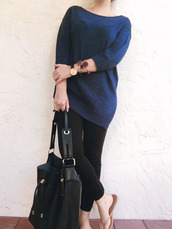 a pretty penny,blogger,sweater,leggings,jewels,maxi bag,bag