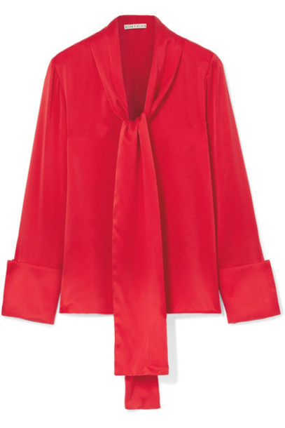 alice + olivia blouse bow silk satin red top