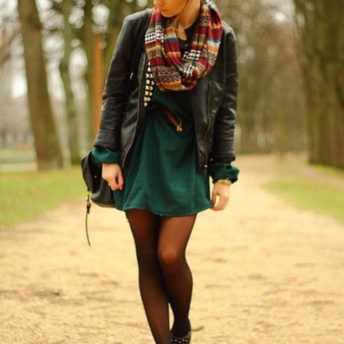 scarf girl boots bag jacket fall outfits green hairstyles red hair leather jacket black jacket cute outfit nice fall outfits bun forest green scarf red