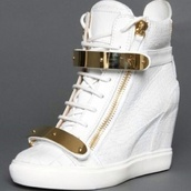shoes,fashionista,wedge sneakers,gold&white sneaker wedges