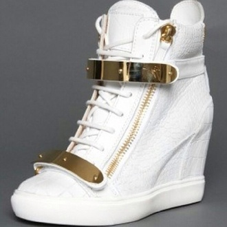 shoes fashionista wedge sneakers gold&white sneaker wedges