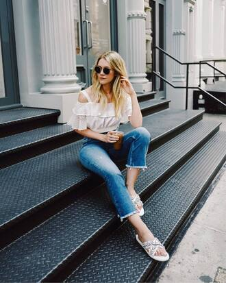 shoes tumblr embellished slide shoes denim jeans blue jeans cropped jeans top white top off the shoulder off the shoulder top sunglasses