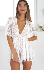 romper,white,lace playsuit,plunge v neck