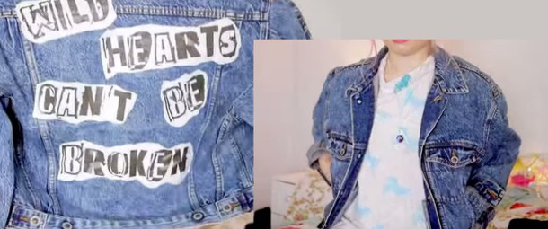 jacket grunge punk denim can't be broken phrase elsie&fred denim jacket vintage vintage jacket grunge jacket wild hearts