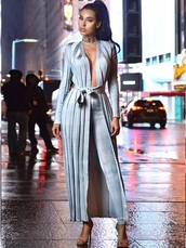 jumpsuit,silver,blue,grey,cardigan,long sleeves,long cardigan,pants,leggings,sexy,sexy outfit,party outfits,fall outfits,spring outfits,winter outfits,classy,elegant,cute,girly,date outfit,clubwear