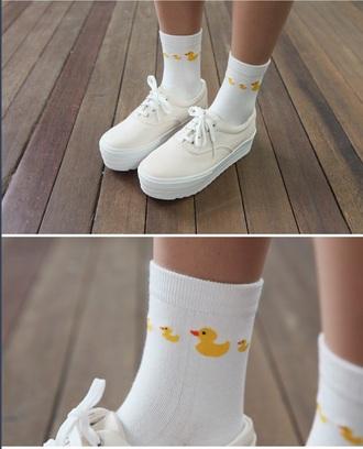 socks duck platform shoes