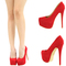 Red suede almond toe high heel hidden platform stiletto womens pump sandal us 10 | ebay
