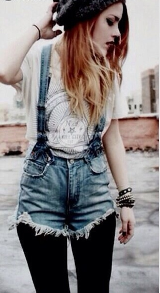 t-shirt overalls denim grunge