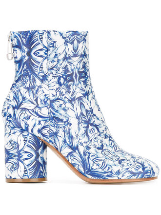 women boots leather print blue shoes