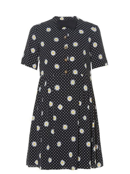 Saint Laurent dress print dress bow daisy embellished print black