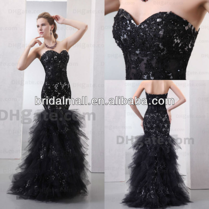 JW0370 Designer style sequins beaded sleeveless strapless Black Mermaid Prom Dress-in Prom Dresses from Apparel & Accessories on Aliexpress.com
