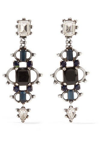 crystal earrings earrings silver black jewels