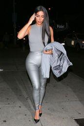 shoes,kim kardashian,kardashians,leggings,top,pumps,celebrity,silver,metallic