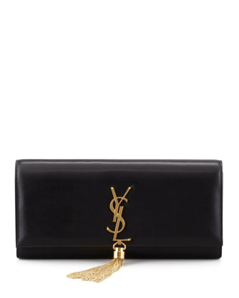 Saint Laurent Cassandre Calfskin Clutch Bag, Cream
