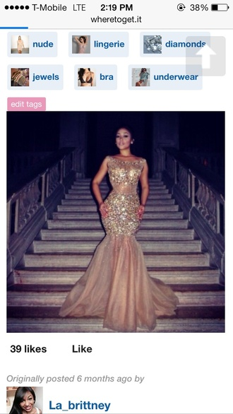 hair accessory dress gold sequins gold nude dress mermaid prom dress see through dress across the shoulders sparkle