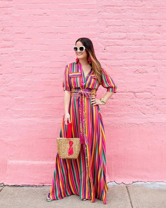 dress maxi dress striped dress stripes long dress sunglasses bag multicolor