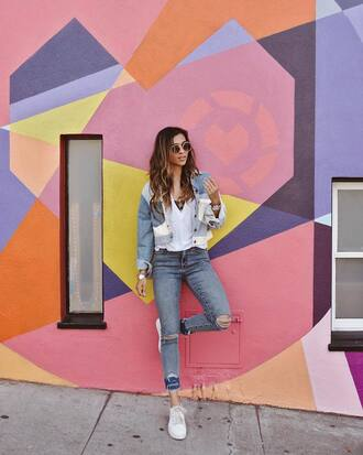 jacket top white top tumblr patchwork denim jacket denim jeans blue jeans ripped jeans sneakers white sneakers sunglasses
