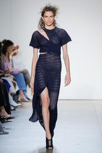 dress jonathan simkhai navy navy dress nyfw 2017 ny fashion week 2017 slit see through asymmetrical