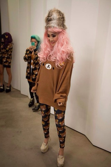 pants sweater rilakkuma oversized sweater kawaii cute