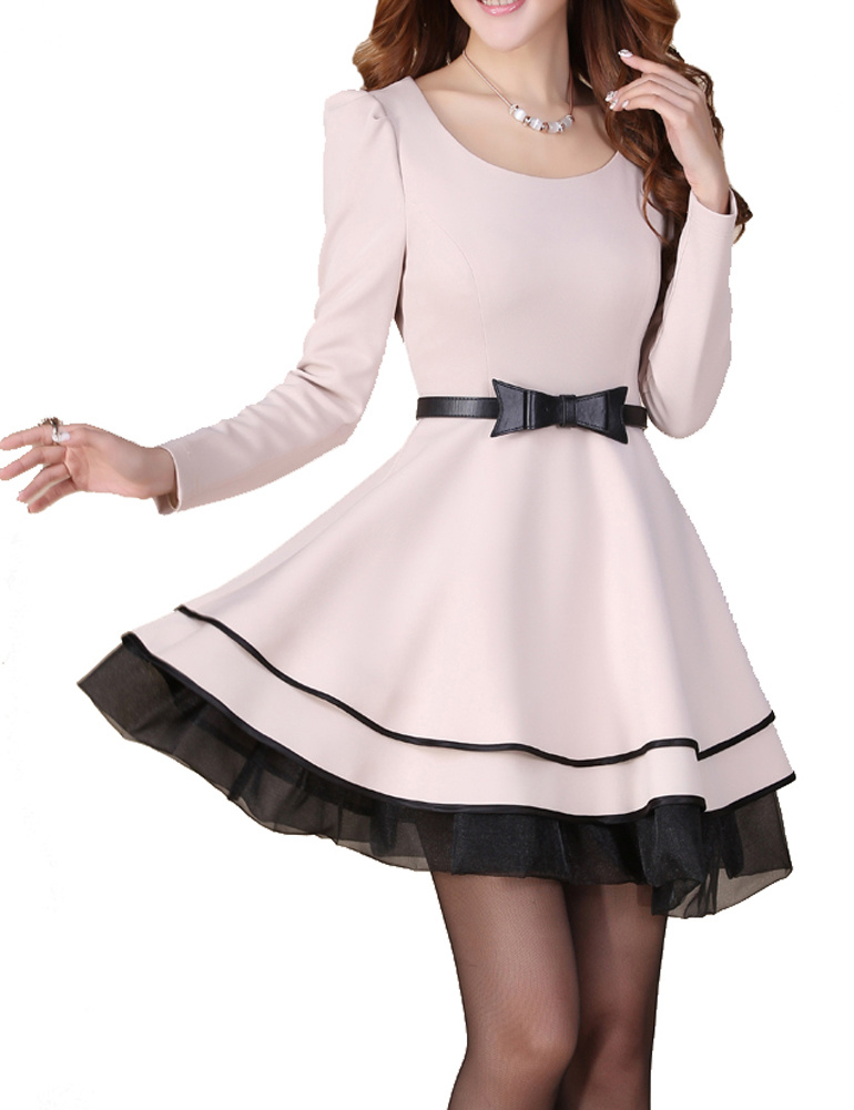 OL Big Hem Tutu Skirt Princess Long Sleeve Dress - PrettyGuide