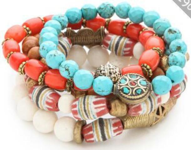 jewels orange beaded bracelet