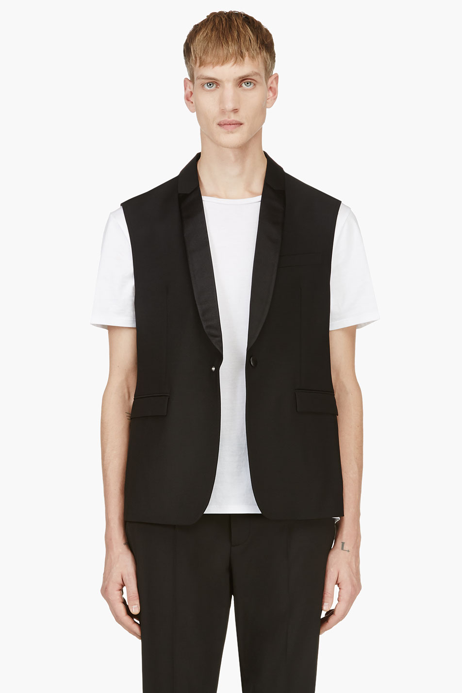 krisvanassche black sleeveless tuxedo vest