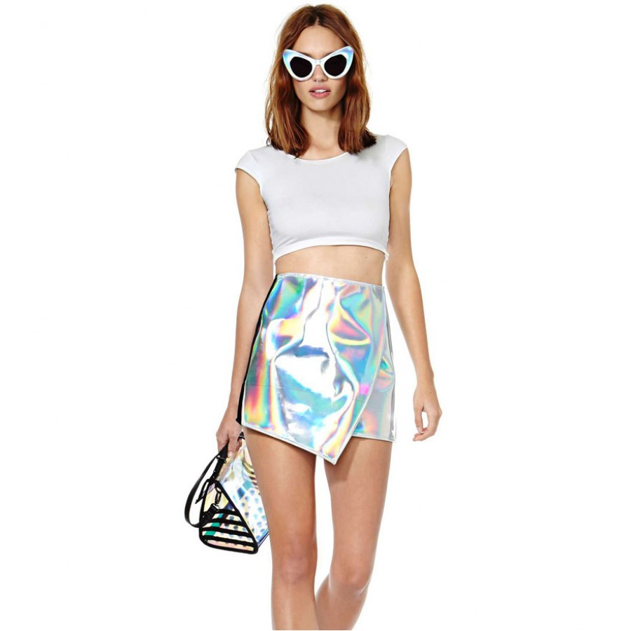 Holographic silver foldover skirt