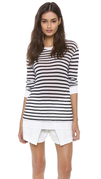 T by Alexander Wang Striped Rayon Linen Tee | SHOPBOP