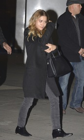 ankle boots,ashley olsen,grey jeans,black coat,coat,shoes