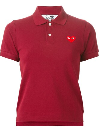 shirt polo shirt heart embroidered red top