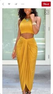 skirt,maxi skirt,mustard