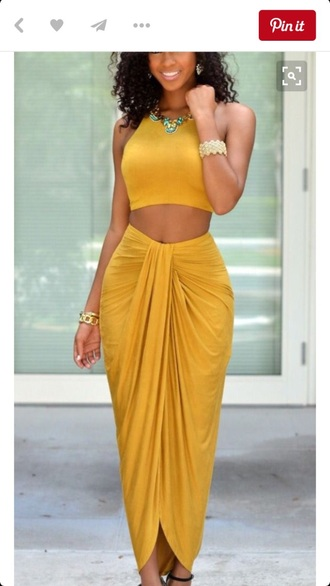 skirt maxi skirt mustard