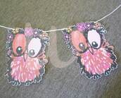 home accessory,owl bunting,pink owl flags,bird bunting,bunting flags,room bunting,party bunting,animal bunting