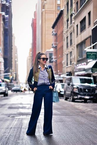 gracefullee made blogger jacket shirt pants sunglasses bag jewels blue pants handbag blue bag