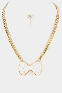 Amazon.com: glitz finery bow with crystal accent chain necklace set (white): jewelry