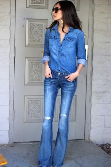 frankie hearts fashion blogger jewels sunglasses jeans denim flare