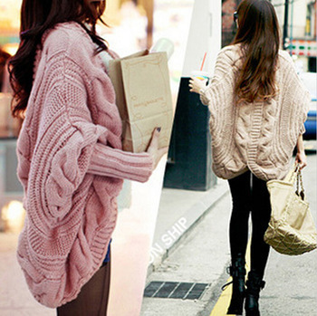 New fall and winter cardigan bat sleeve sweater cardigan knitting needle loose shawl ladies thick coat women sweater